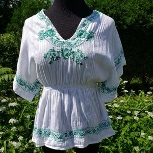 Boho dolman sleeve blouse with green embroidery